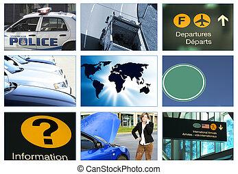 collage, thema, vervoer