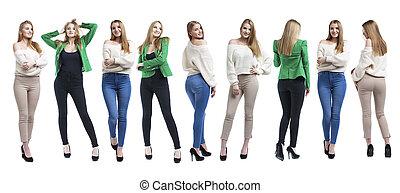Collage three fashion blonde models