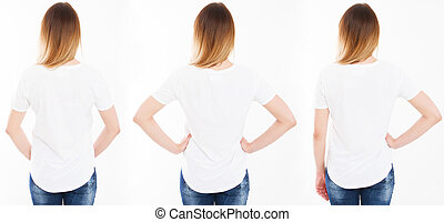 collage three woman in tshirt isolated on white background, girl t shirt