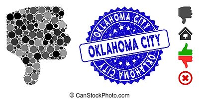 Collage Thumb Down Icon with Grunge Oklahoma City Stamp