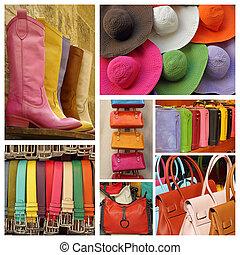 collage, tillbehör, färgrik, kvinnor