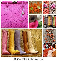 collage, tillbehör, kvinnor, färgrik