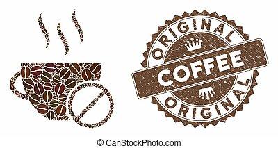 collage, timbre, détresse, café, non, original