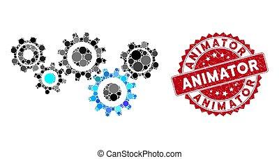 collage, timbre, mécanisme, engrenage, animator, détresse