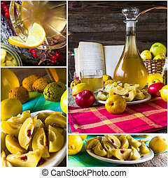 collage tincture quince fruit alcohol intake - Collage of...