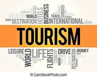 collage, toerisme, woord, wolk