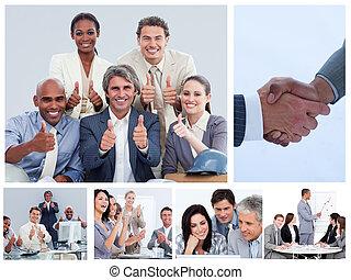 collage, toestanden, enigszins, zakenlui