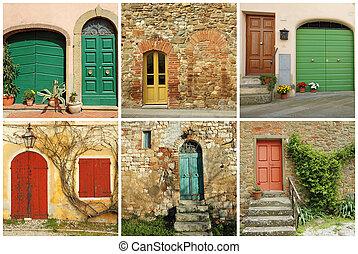 collage, toscana, porte, italiano