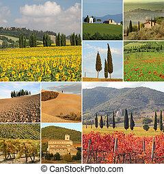 collage, toscano, fantastico, paesaggio
