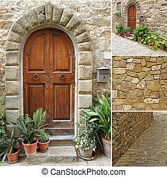 collage, toscano, italia, porta