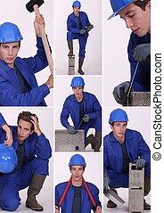 collage, trabajador construcción