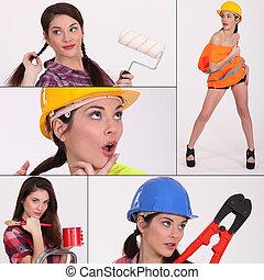 collage, trabajador construcción, hembra