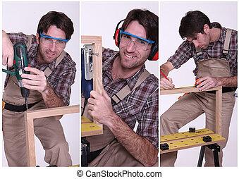 collage, trabajo, carpintero