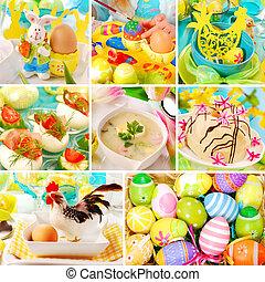 collage, tradicional, pascua, decoraciones, platos