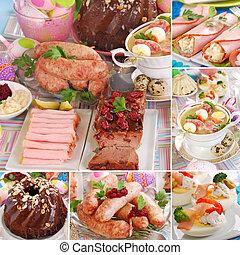 collage, tradicional, pascua, platos, polaco