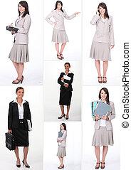 collage, travail, femmes affaires