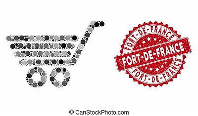 Mosaic trolley and grunge stamp watermark with Fort-De-France caption. Mosaic vector is designed with trolley icon and with random round spots. Fort-De-France stamp uses red color,