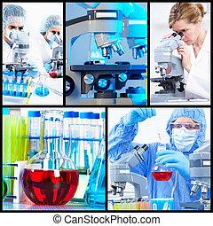 collage., tudományos, háttér