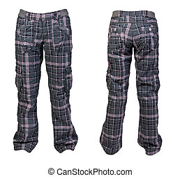 collage two warm plaid pants for women isolated on a white...