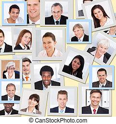 collage, uśmiechanie się, handlowy zaludniają