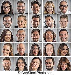 collage, uśmiechnięte twarze