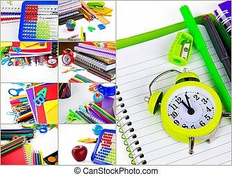 collage, uitrusting, school, opleiding, gereedschap