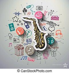collage, underhållning, musik, bakgrund, ikonen