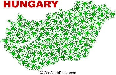 collage, ungheria, foglie, marijuana, mappa