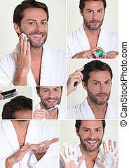 collage, uomo, rasatura