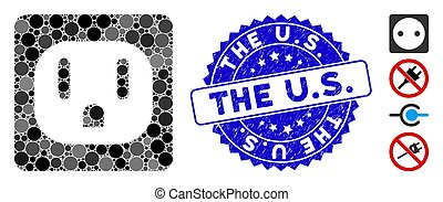 Collage USA Electric Socket Icon with Distress The U.S. Stamp