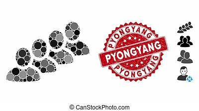 Collage User Queue Icon with Scratched Pyongyang Stamp