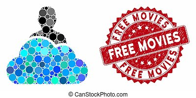 Collage User with Scratched Free Movies Stamp - Mosaic user ...