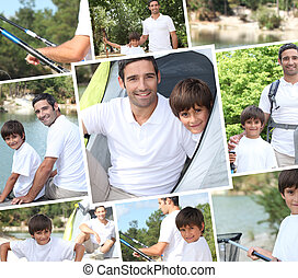 collage, vacances, illustrer, camping, famille