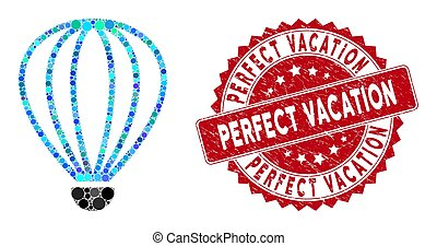 collage, vakantie, zeehondje, perfect, aerostat, nood
