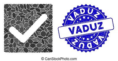 Collage Valid Tick Icon with Scratched Vaduz Seal