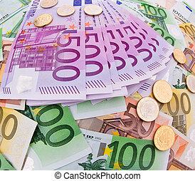 collage, valuta, eurobiljet