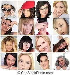 collage, van, 16, vrouwlijk, gezichten