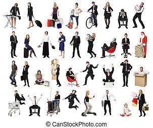 collage, van, actief, mensen