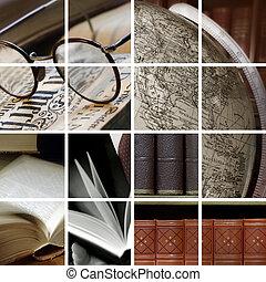 collage, van, bibliotheek, een