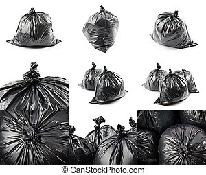 collage, van, black , vuilzakken