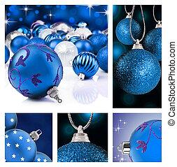 collage, van, blauwe , kerst decoraties, op, verschillende achtergronden