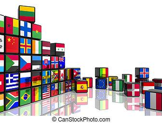 collage, van, blokje, met, vlaggen