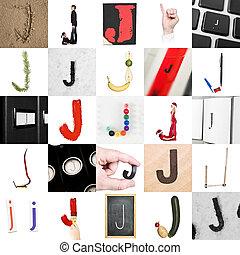 collage, van, brief, j