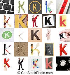 collage, van, brief k