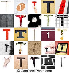 collage, van, brief, t