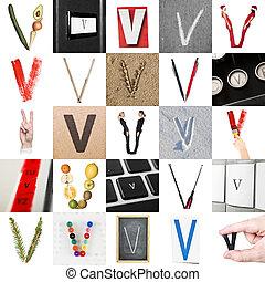 collage, van, brief, v