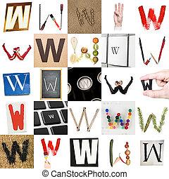 collage, van, brief, w
