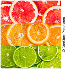 collage, van, citrus-fruit