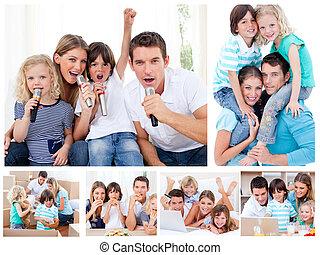 collage, van, een, gezin, delen, momenten, samen, thuis