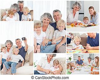collage, van, een, gezin, het genieten van, anders, momenten, samen, thuis